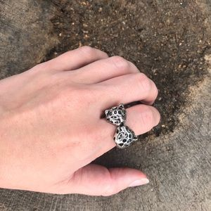 Jewelry - Silver and black spotted leopard clamper ring 8